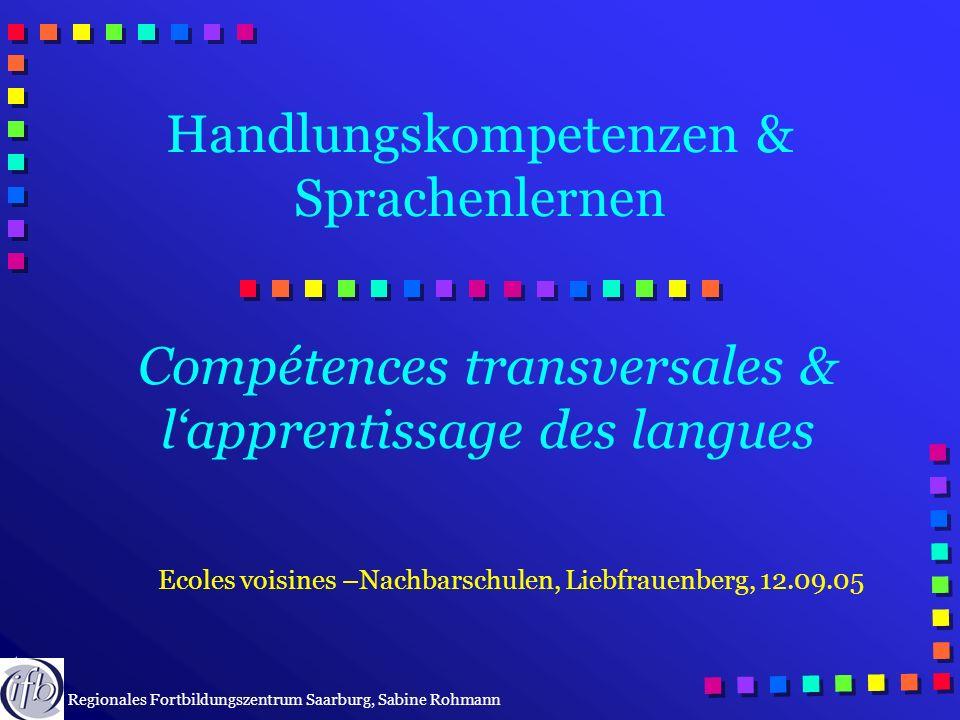 © IFB, SR Handlungskompetenzen & Sprachenlernen Compétences transversales & lapprentissage des langues Ecoles voisines –Nachbarschulen, Liebfrauenberg