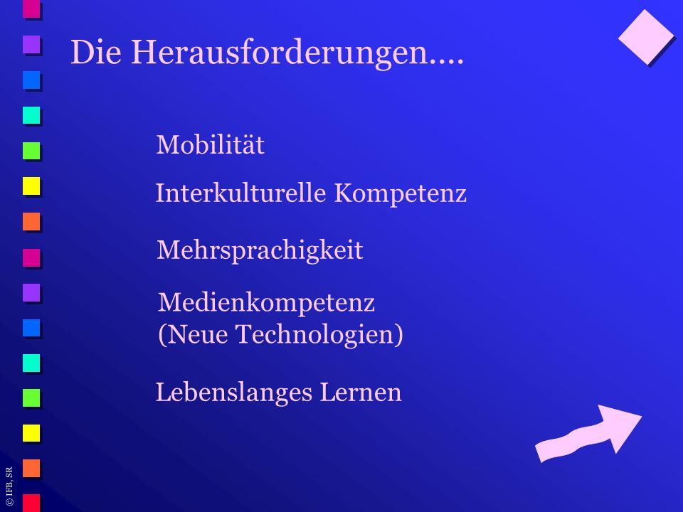 © IFB, SR Die Herausforderungen.... Mobilität Mehrsprachigkeit Interkulturelle Kompetenz Medienkompetenz (Neue Technologien) Lebenslanges Lernen