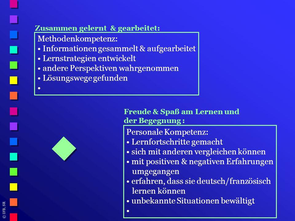 © IFB, SR Zusammen gelernt & gearbeitet: Methodenkompetenz: Informationen gesammelt & aufgearbeitet Lernstrategien entwickelt andere Perspektiven wahr