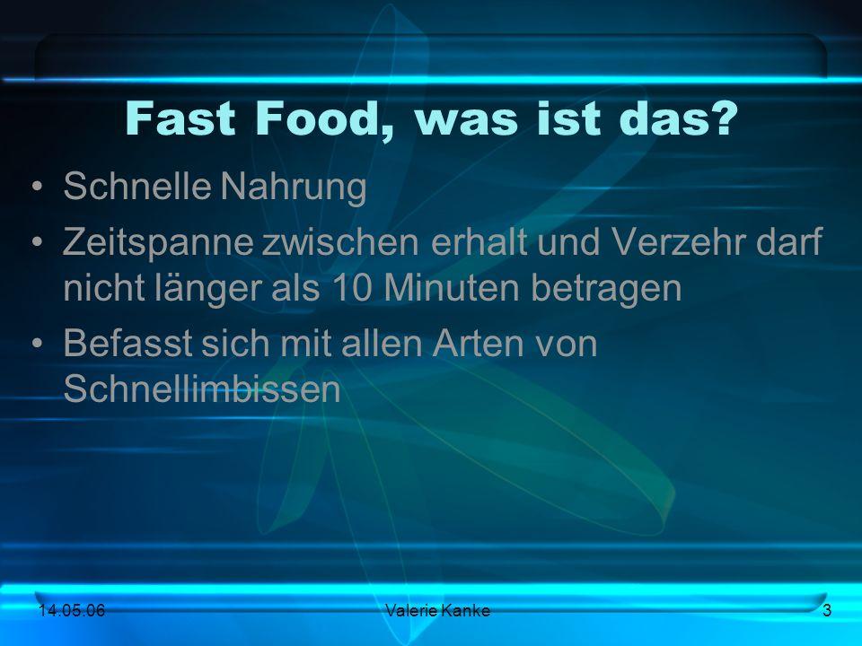 14.05.06Valerie Kanke3 Fast Food, was ist das? Schnelle Nahrung Zeitspanne zwischen erhalt und Verzehr darf nicht länger als 10 Minuten betragen Befas