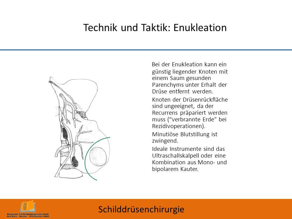 Technik und Taktik: Enukleation Bei der Enukleation kann ein günstig liegender Knoten mit einem Saum gesunden Parenchyms unter Erhalt der Drüse entfer