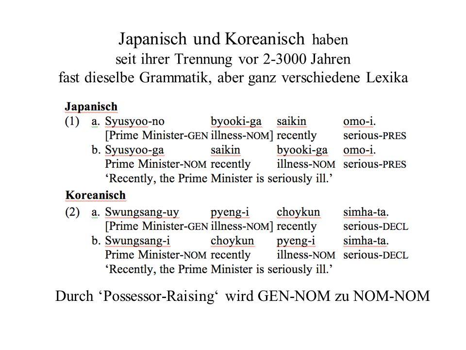 Japanisch und Koreanisch haben seit ihrer Trennung vor 2-3000 Jahren fast dieselbe Grammatik, aber ganz verschiedene Lexika Durch Possessor-Raising wird GEN-NOM zu NOM-NOM
