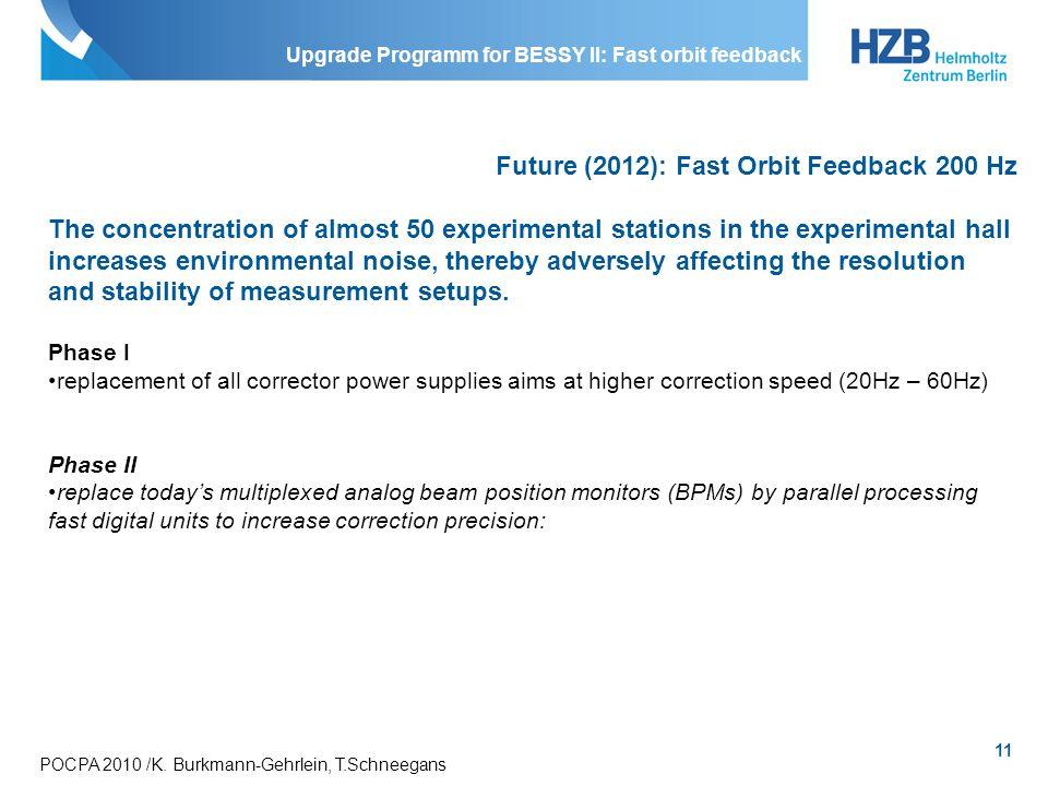11 POCPA 2010 /K. Burkmann-Gehrlein, T.Schneegans Upgrade Programm for BESSY II: Fast orbit feedback Future (2012): Fast Orbit Feedback 200 Hz The con