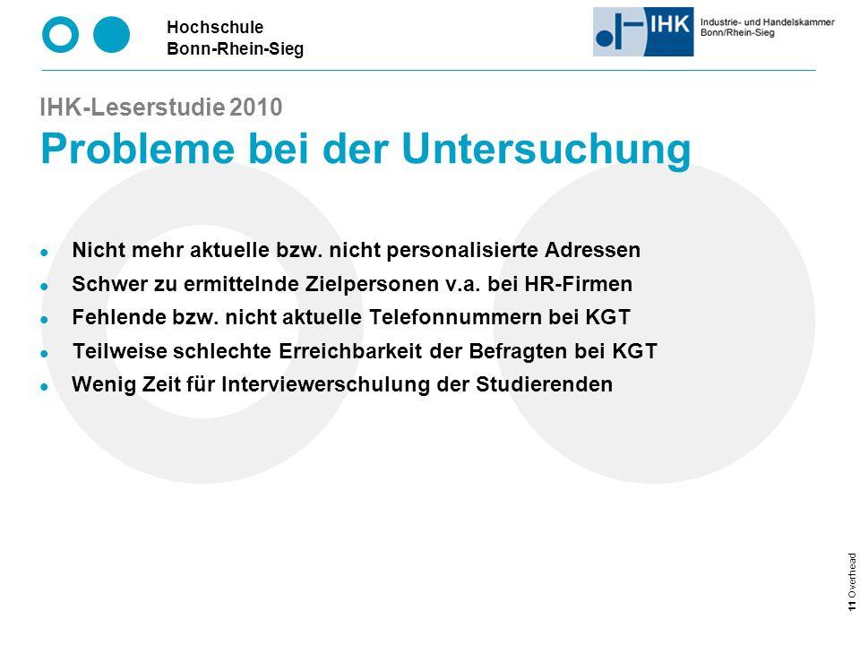 Hochschule Bonn-Rhein-Sieg 11 Overhead IHK-Leserstudie 2010 Probleme bei der Untersuchung Nicht mehr aktuelle bzw.