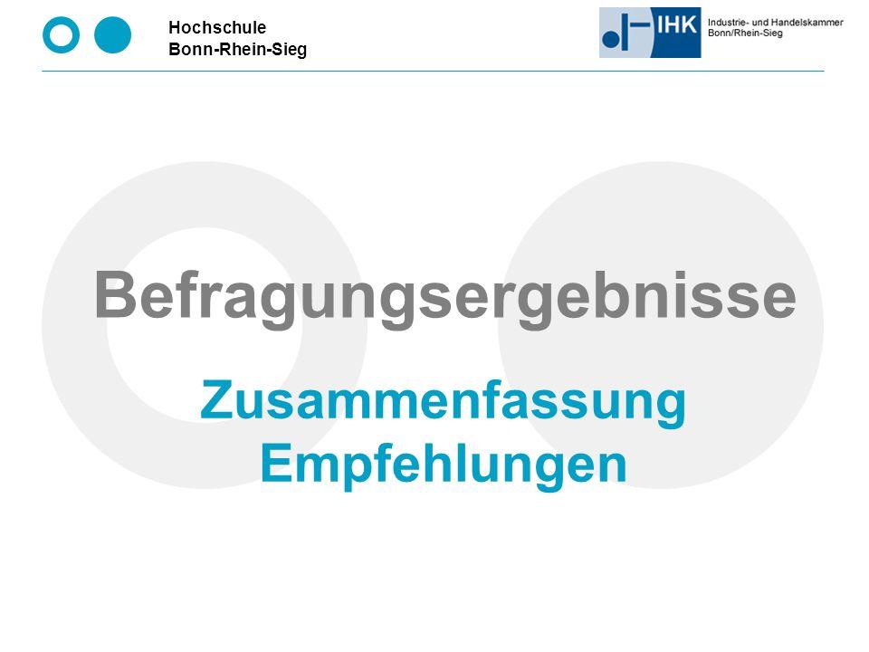 Hochschule Bonn-Rhein-Sieg Befragungsergebnisse Zusammenfassung Empfehlungen