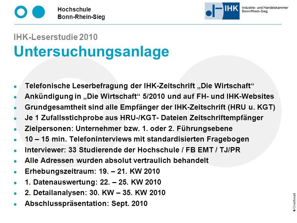 Hochschule Bonn-Rhein-Sieg 27 Overhead IHK-Leserstudie 2010 Kennen Sie die IHK-Zeitschrift.