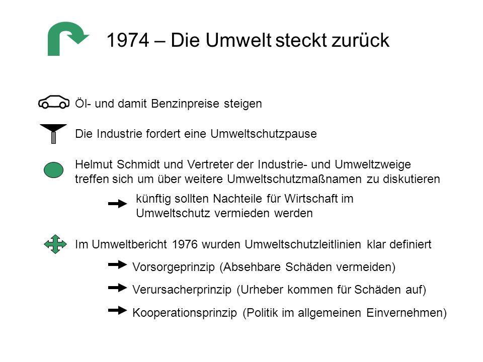 1974 – Die Umwelt steckt zurück Im Umweltbericht 1976 wurden Umweltschutzleitlinien klar definiert Vorsorgeprinzip (Absehbare Schäden vermeiden) Verur