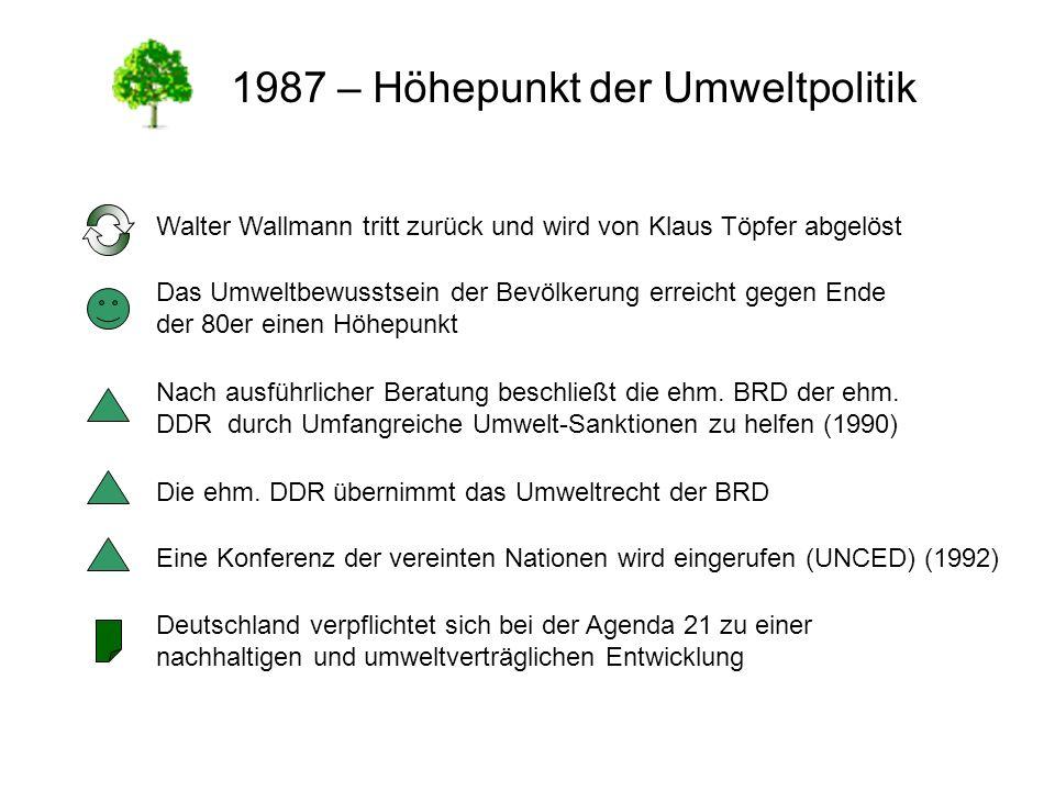 1987 – Höhepunkt der Umweltpolitik Walter Wallmann tritt zurück und wird von Klaus Töpfer abgelöst Das Umweltbewusstsein der Bevölkerung erreicht gege