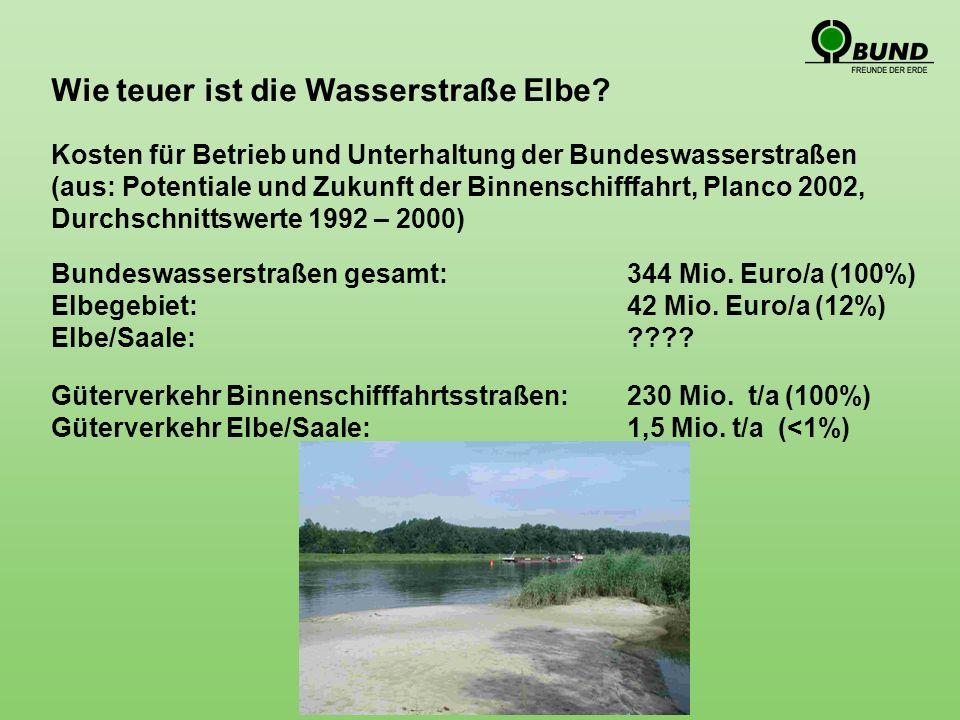 Wie teuer ist die Wasserstraße Elbe. Bundeswasserstraßen gesamt: 344 Mio.