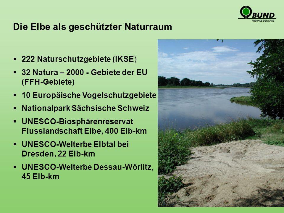 Die Elbe als geschützter Naturraum 222 Naturschutzgebiete (IKSE) 32 Natura – 2000 - Gebiete der EU (FFH-Gebiete) 10 Europäische Vogelschutzgebiete Nationalpark Sächsische Schweiz UNESCO-Biosphärenreservat Flusslandschaft Elbe, 400 Elb-km UNESCO-Welterbe Elbtal bei Dresden, 22 Elb-km UNESCO-Welterbe Dessau-Wörlitz, 45 Elb-km