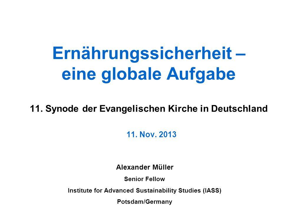 Ernährungssicherheit – eine globale Aufgabe 11. Synode der Evangelischen Kirche in Deutschland 11. Nov. 2013 Alexander Müller Senior Fellow Institute