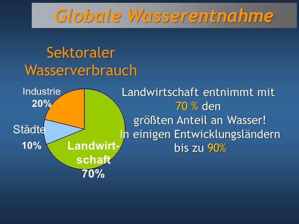 Globale Wasserentnahme Landwirt- schaft 70% Industrie 20% Städte 10% Sektoraler Wasserverbrauch Landwirtschaft entnimmt mit 70 % den größten Anteil an