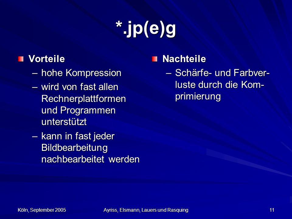 Köln, September 2005 Ayriss, Elsmann, Lauers und Rasquing 11 *.jp(e)g Vorteile –hohe Kompression –wird von fast allen Rechnerplattformen und Programmen unterstützt –kann in fast jeder Bildbearbeitung nachbearbeitet werden Nachteile –Schärfe- und Farbver- luste durch die Kom- primierung