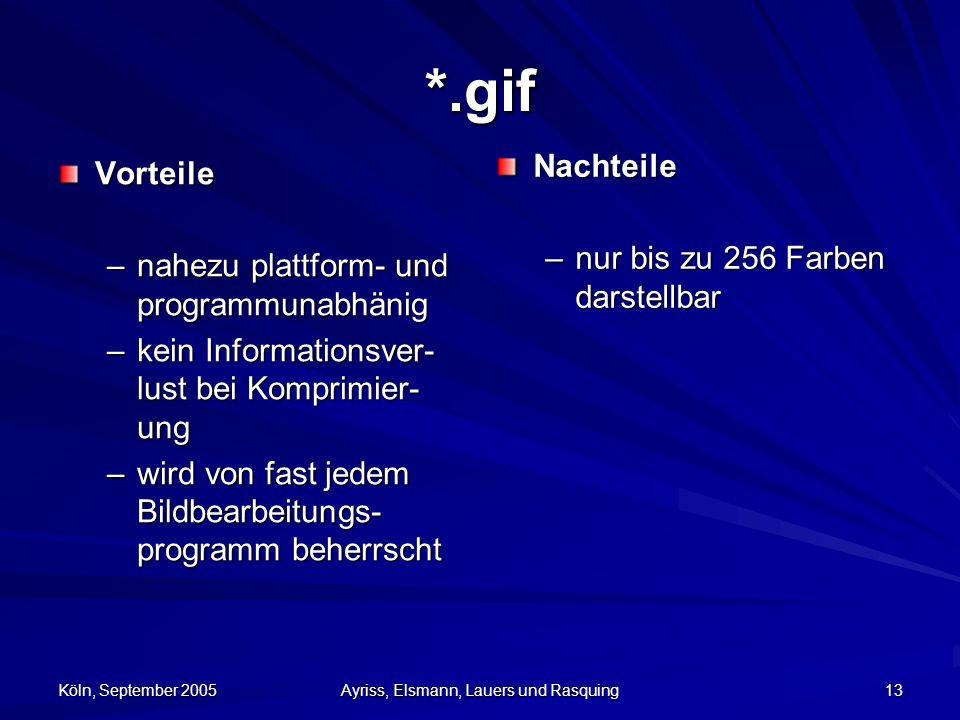 Köln, September 2005 Ayriss, Elsmann, Lauers und Rasquing 13 *.gif Vorteile –nahezu plattform- und programmunabhänig –kein Informationsver- lust bei Komprimier- ung –wird von fast jedem Bildbearbeitungs- programm beherrscht Nachteile –nur bis zu 256 Farben darstellbar
