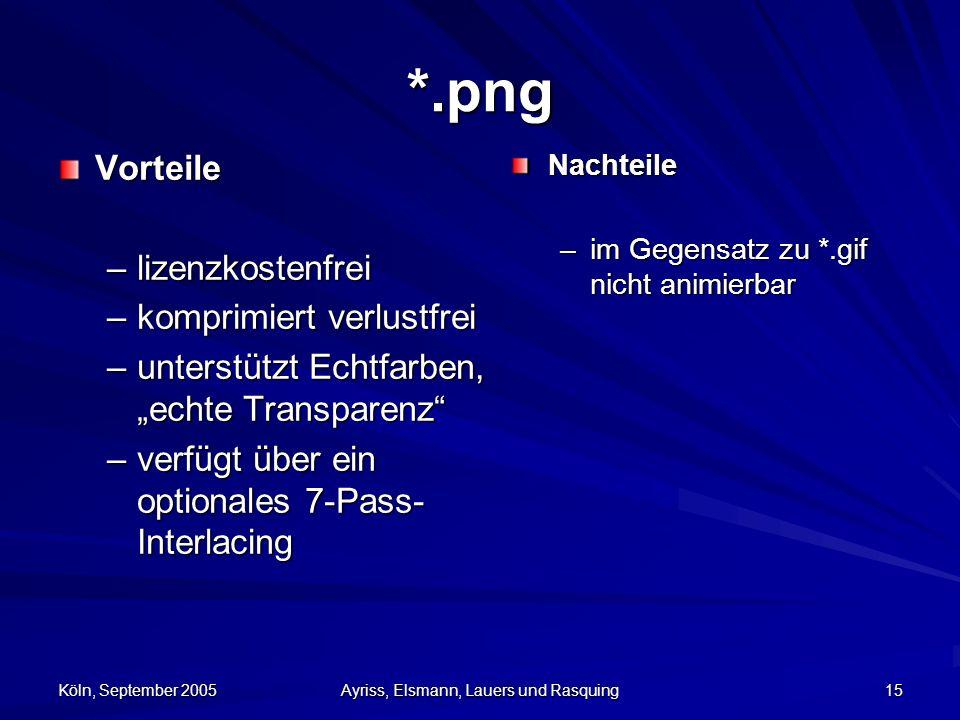 Köln, September 2005 Ayriss, Elsmann, Lauers und Rasquing 15 *.png Vorteile –lizenzkostenfrei –komprimiert verlustfrei –unterstützt Echtfarben, echte Transparenz –verfügt über ein optionales 7-Pass- Interlacing Nachteile –im Gegensatz zu *.gif nicht animierbar