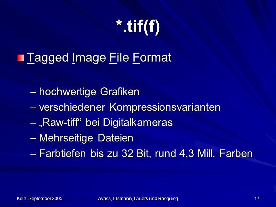 Köln, September 2005 Ayriss, Elsmann, Lauers und Rasquing 17 *.tif(f) Tagged Image File Format –hochwertige Grafiken –verschiedener Kompressionsvarianten –Raw-tiff bei Digitalkameras –Mehrseitige Dateien –Farbtiefen bis zu 32 Bit, rund 4,3 Mill.