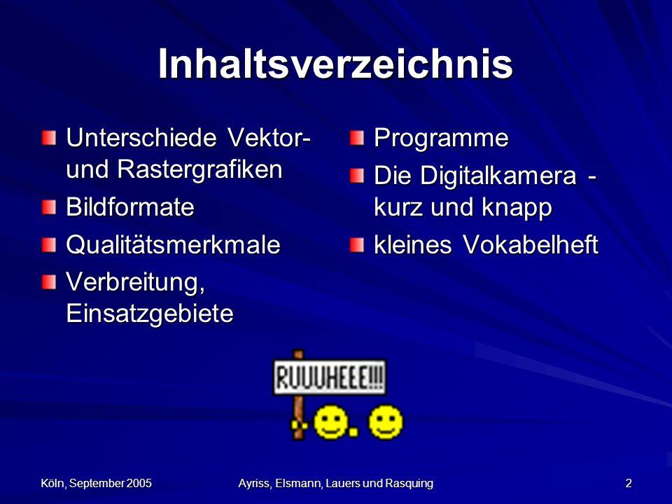 Köln, September 2005 Ayriss, Elsmann, Lauers und Rasquing 23 Programme Bildbearbeitung –Adobe Photoshop –Gimp Bildbetrachtung –ACDSee –IrfanView –Photo Editor