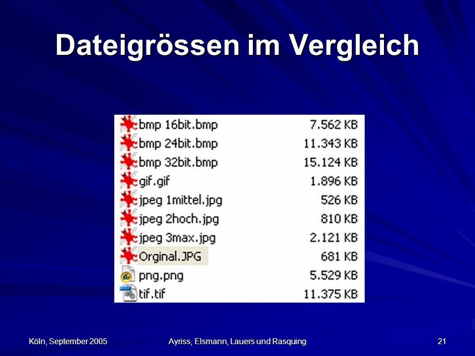 Köln, September 2005 Ayriss, Elsmann, Lauers und Rasquing 21 Dateigrössen im Vergleich