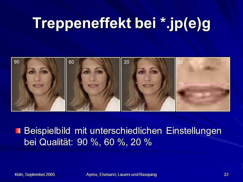 Köln, September 2005 Ayriss, Elsmann, Lauers und Rasquing 22 Treppeneffekt bei *.jp(e)g Beispielbild mit unterschiedlichen Einstellungen bei Qualität: 90 %, 60 %, 20 %