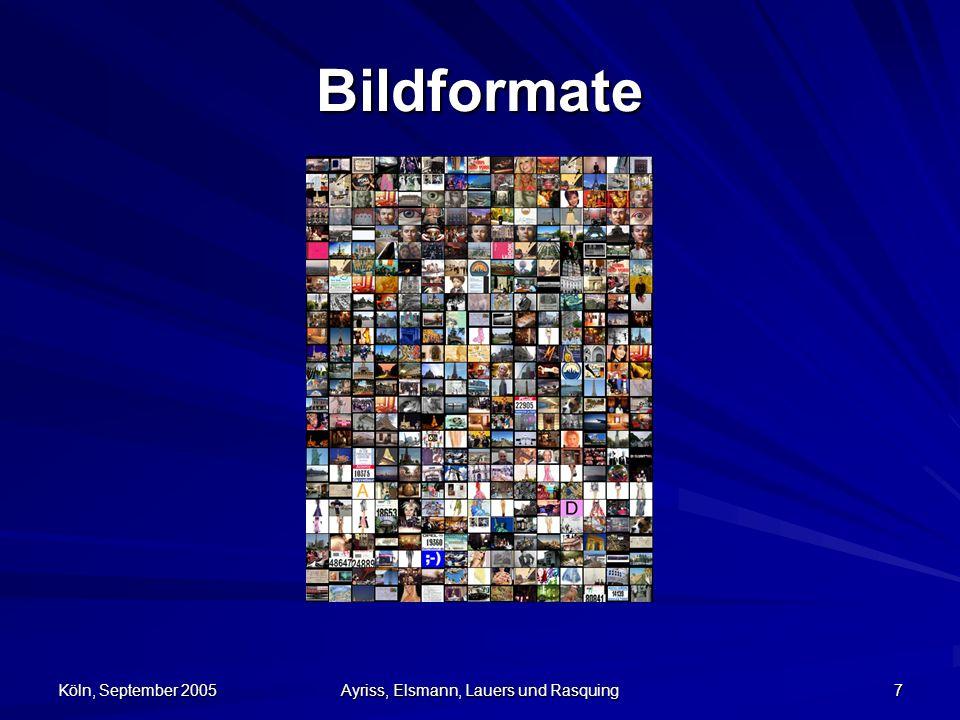 Köln, September 2005 Ayriss, Elsmann, Lauers und Rasquing 8 *.bmp Windows Bitmap –Grafikformat Windows und OS/2 –meist Version 3 und unkomprimiert im Einsatz –1, 4, 8, 16, 24 oder 32 Bit Farbtiefen möglich –bestehen aus drei Teilen: Dateikopf, Informa- tionsblock und den Bilddaten –max.