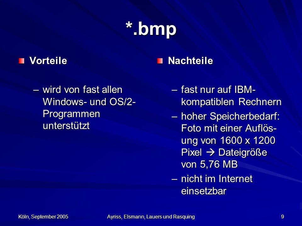 Köln, September 2005 Ayriss, Elsmann, Lauers und Rasquing 10 *.jp(e)g Joint Photographic Expert Group –JFIF-Format (JPEG File Interchange Format) –variable Kompression / Größe –ungeeignet für schwarz-weiß Bilder –MPEG-1 und MPEG-2 bauen auf jepg auf –bis zu 24 Bit, also 16,7 Millionen Farben