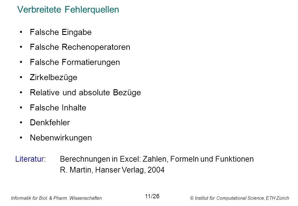 Informatik für Biol. & Pharm. Wissenschaften © Institut für Computational Science, ETH Zürich Verbreitete Fehlerquellen 11/26 Falsche Eingabe Falsche