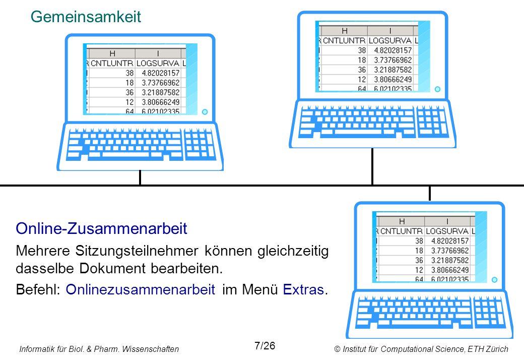 Informatik für Biol. & Pharm. Wissenschaften © Institut für Computational Science, ETH Zürich Gemeinsamkeit Online-Zusammenarbeit Mehrere Sitzungsteil