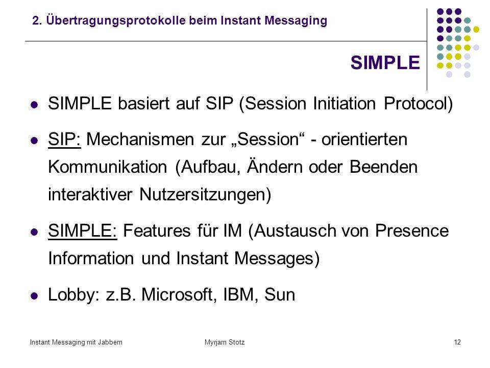Instant Messaging mit Jabbern Myrjam Stotz11 Übertragungsprotokolle Die meisten IM – Systeme arbeiten mit proprietären Protokollen Kein Standard, kein