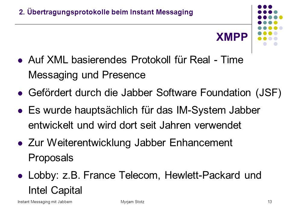 Instant Messaging mit Jabbern Myrjam Stotz12 SIMPLE SIMPLE basiert auf SIP (Session Initiation Protocol) SIP: Mechanismen zur Session - orientierten K