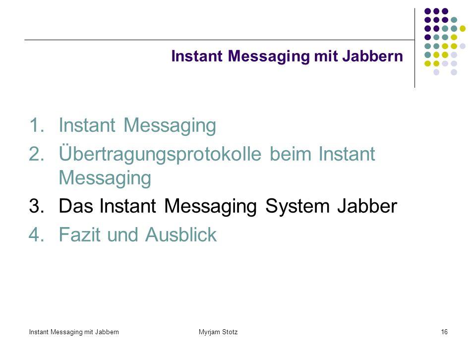 Instant Messaging mit Jabbern Myrjam Stotz15 Beispielnachricht mittels XMPP Frame – Ankunftszeit des Paketes, Gesamtgröße in Bytes (311 Bytes) Etherne