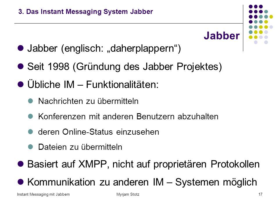 Instant Messaging mit Jabbern Myrjam Stotz16 Instant Messaging mit Jabbern 1.Instant Messaging 2.Übertragungsprotokolle beim Instant Messaging 3.Das I