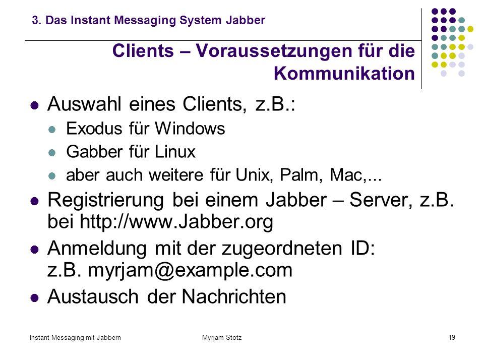 Instant Messaging mit Jabbern Myrjam Stotz18 Client – Server – Architektur von Jabber 3. Das Instant Messaging System Jabber