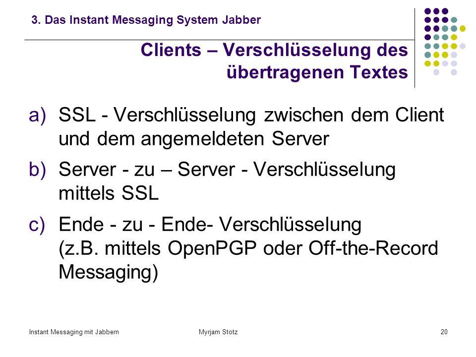 Instant Messaging mit Jabbern Myrjam Stotz19 Clients – Voraussetzungen für die Kommunikation Auswahl eines Clients, z.B.: Exodus für Windows Gabber fü