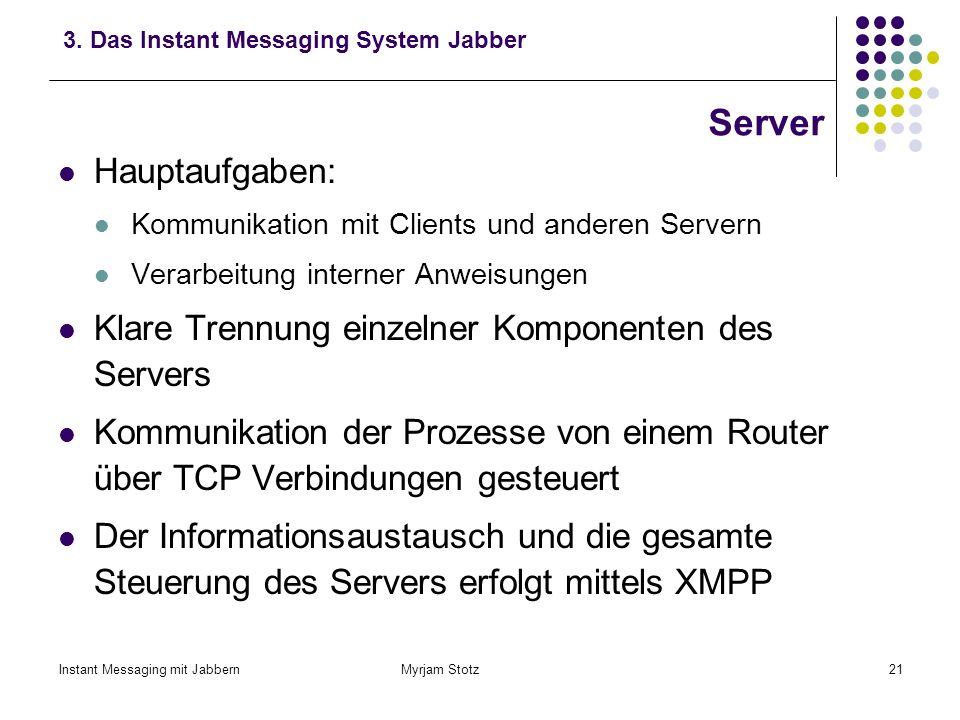 Instant Messaging mit Jabbern Myrjam Stotz20 Clients – Verschlüsselung des übertragenen Textes a)SSL - Verschlüsselung zwischen dem Client und dem ang