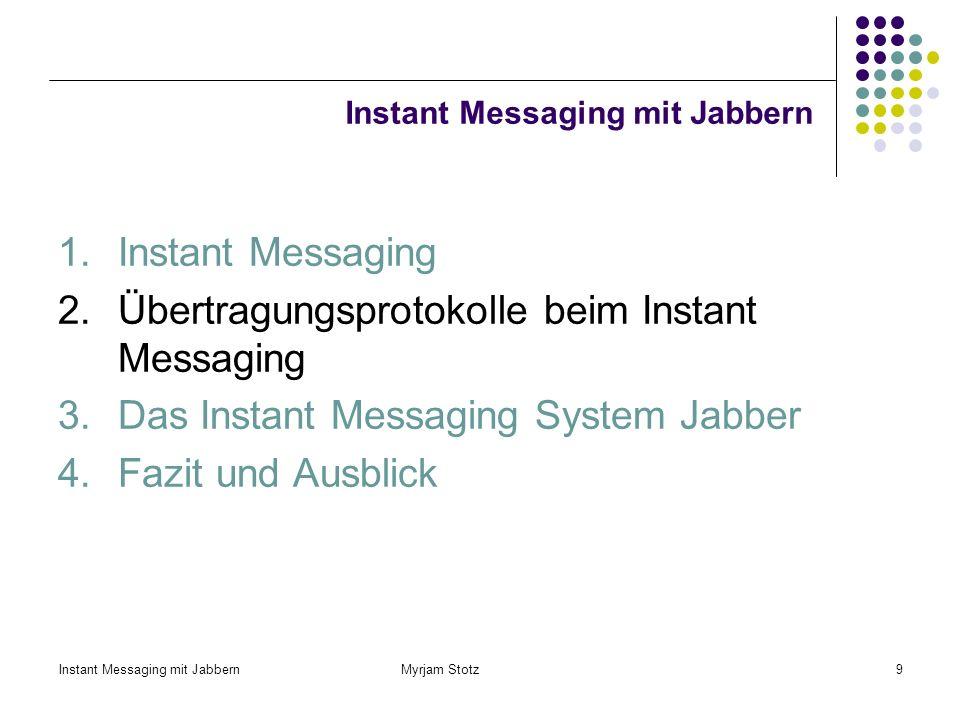 Instant Messaging mit Jabbern Myrjam Stotz9 Instant Messaging mit Jabbern 1.Instant Messaging 2.Übertragungsprotokolle beim Instant Messaging 3.Das Instant Messaging System Jabber 4.Fazit und Ausblick