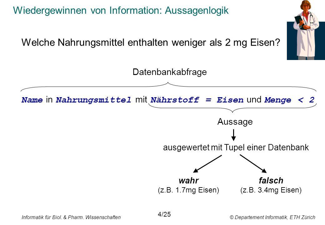 Informatik für Biol. & Pharm. Wissenschaften © Departement Informatik, ETH Zürich Wiedergewinnen von Information: Aussagenlogik Welche Nahrungsmittel