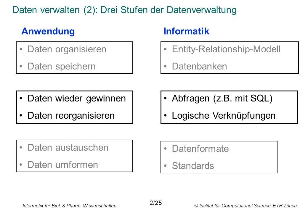 Informatik für Biol. & Pharm. Wissenschaften © Institut für Computational Science, ETH Zürich Daten verwalten (2): Drei Stufen der Datenverwaltung 2/2