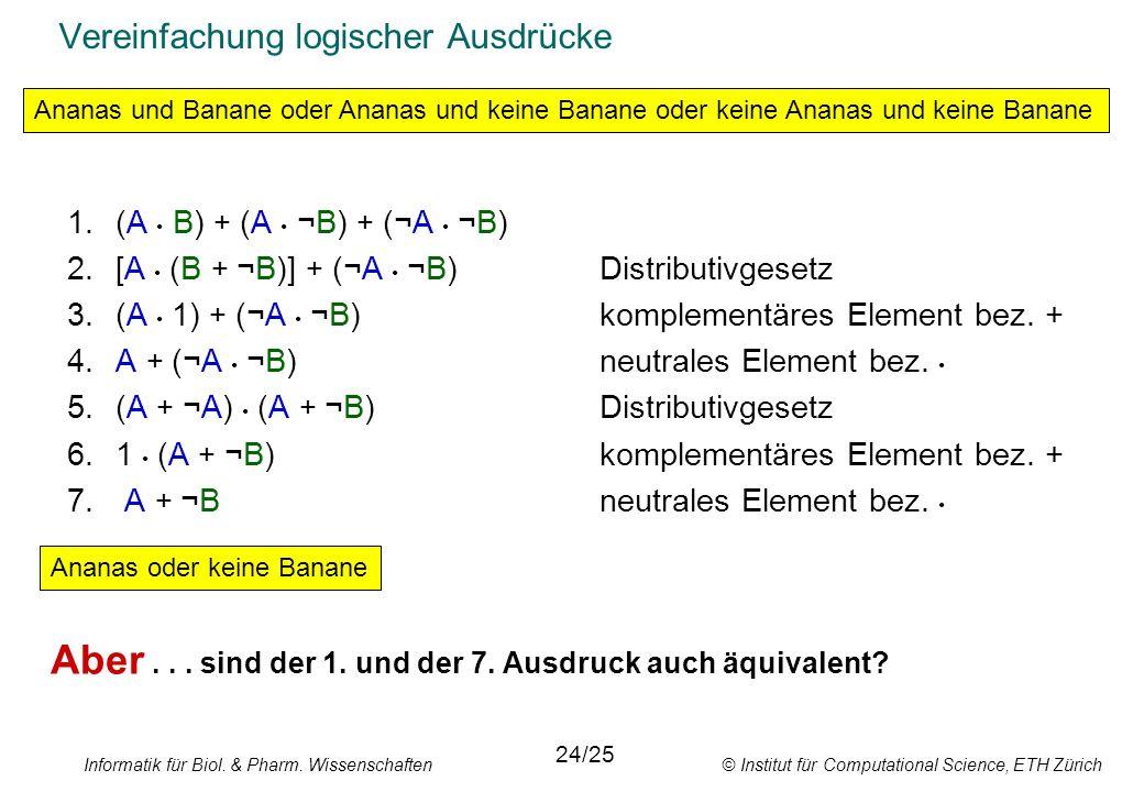 Informatik für Biol. & Pharm. Wissenschaften © Institut für Computational Science, ETH Zürich Vereinfachung logischer Ausdrücke 1.(A B) + (A ¬B) + (¬A