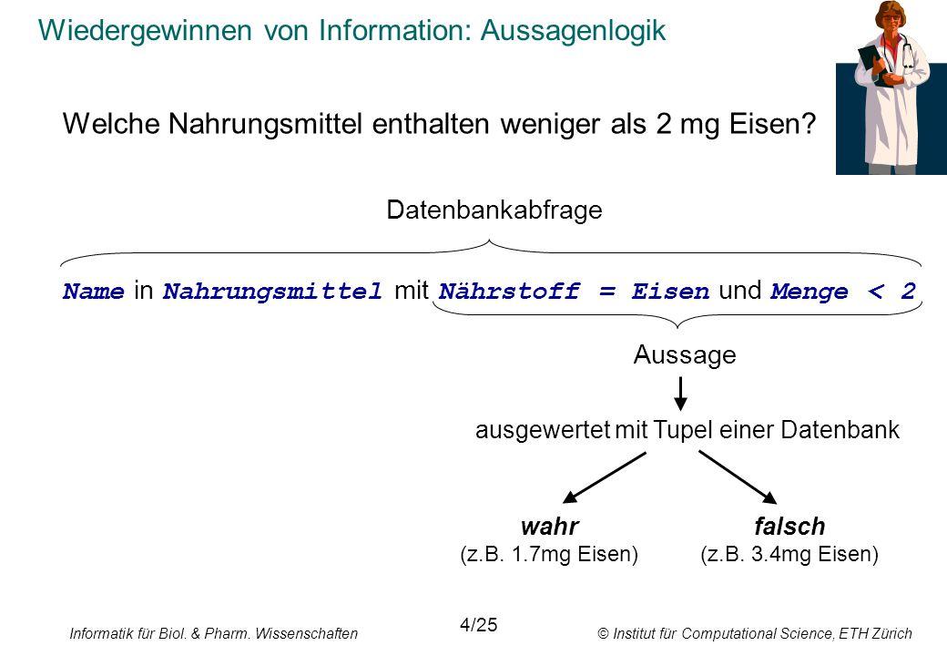 Informatik für Biol. & Pharm. Wissenschaften © Institut für Computational Science, ETH Zürich Wiedergewinnen von Information: Aussagenlogik Welche Nah