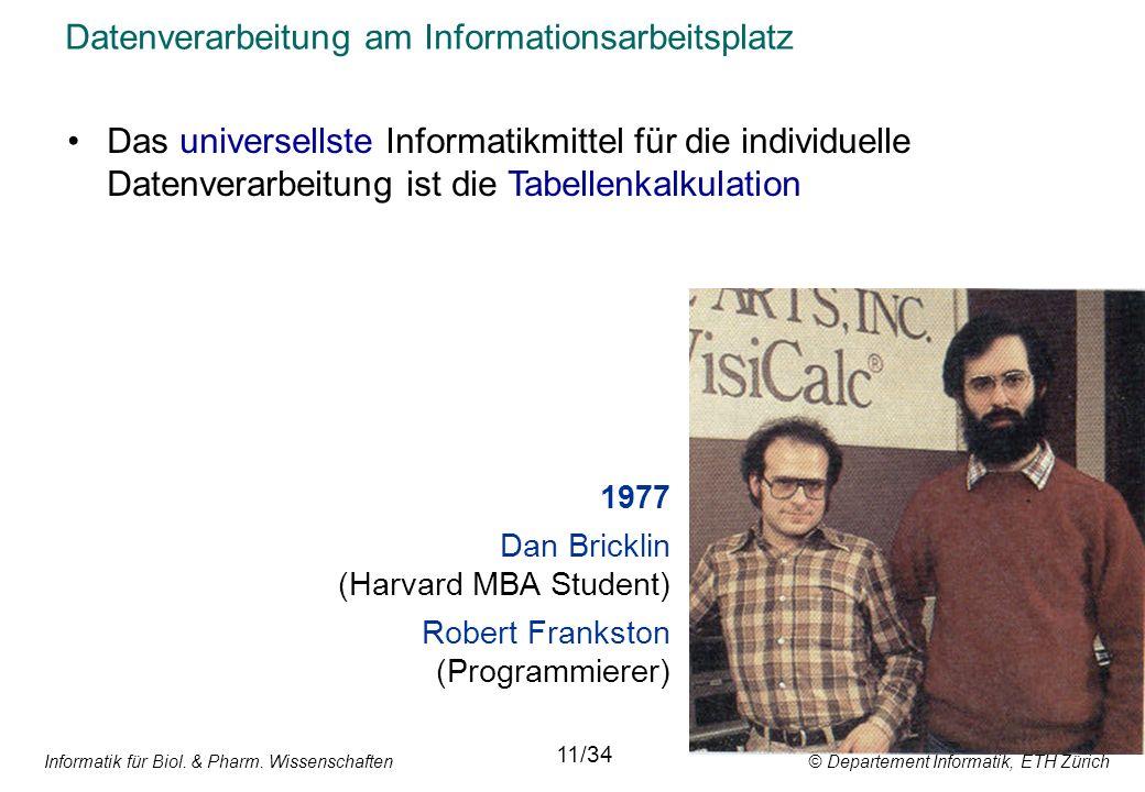 Informatik für Biol. & Pharm. Wissenschaften © Departement Informatik, ETH Zürich Datenverarbeitung am Informationsarbeitsplatz Das universellste Info