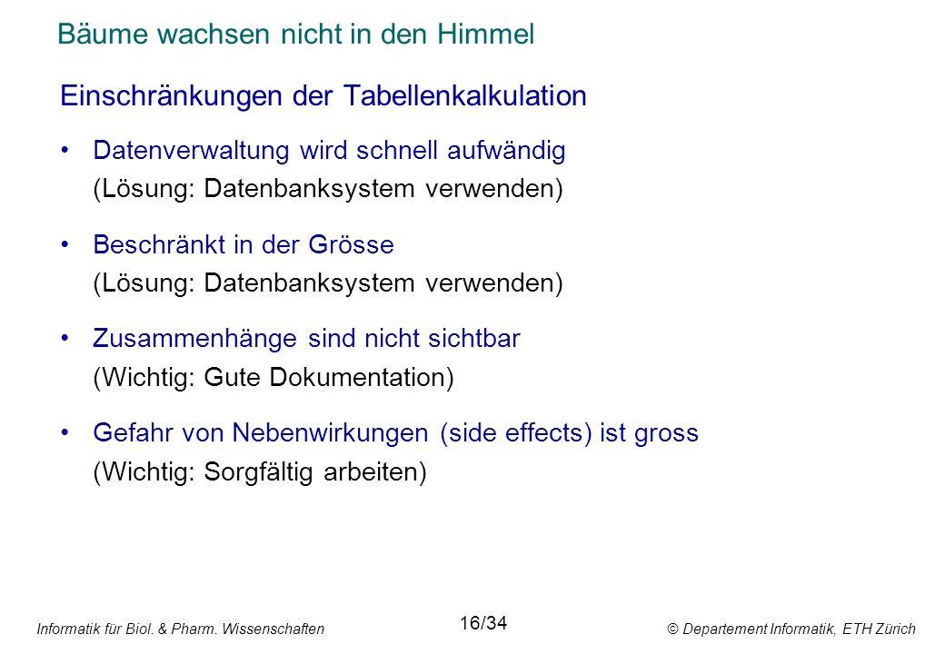 Informatik für Biol. & Pharm. Wissenschaften © Departement Informatik, ETH Zürich Bäume wachsen nicht in den Himmel Einschränkungen der Tabellenkalkul