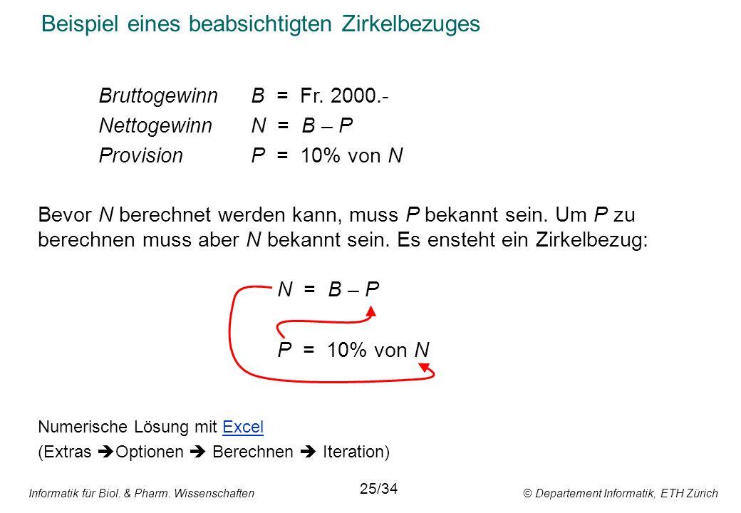 Informatik für Biol. & Pharm. Wissenschaften © Departement Informatik, ETH Zürich Beispiel eines beabsichtigten Zirkelbezuges Bruttogewinn B = Fr. 200
