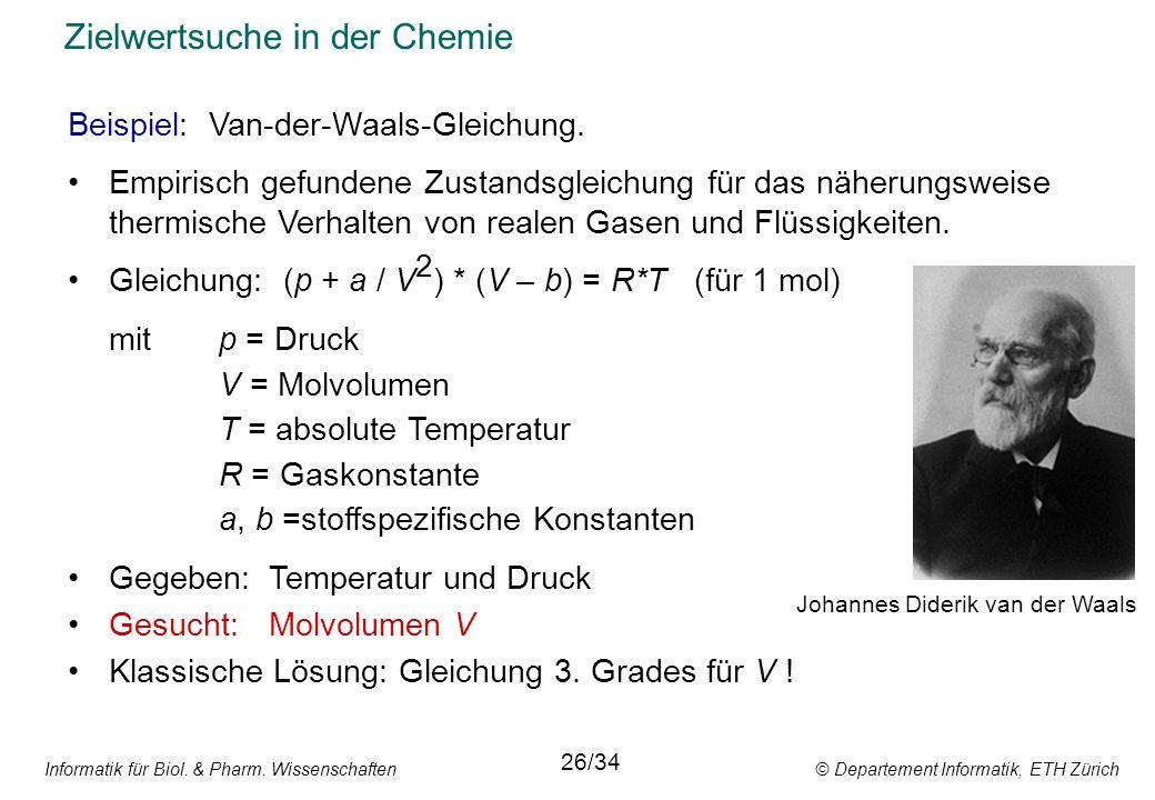 Informatik für Biol. & Pharm. Wissenschaften © Departement Informatik, ETH Zürich Zielwertsuche in der Chemie Beispiel: Van-der-Waals-Gleichung. Empir