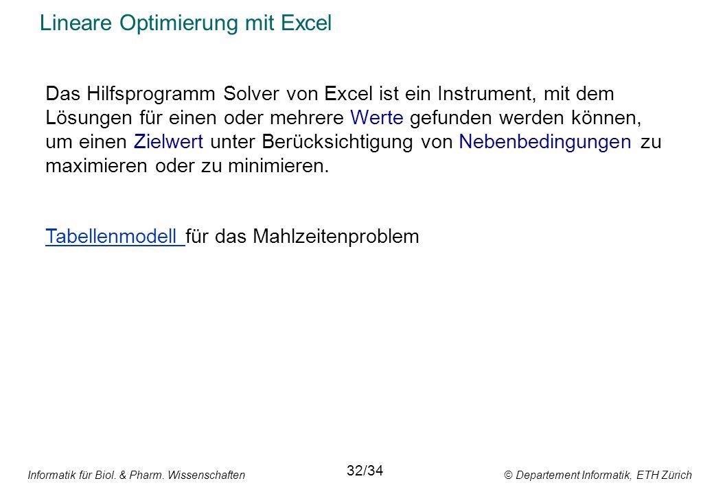 Informatik für Biol. & Pharm. Wissenschaften © Departement Informatik, ETH Zürich Lineare Optimierung mit Excel Das Hilfsprogramm Solver von Excel ist