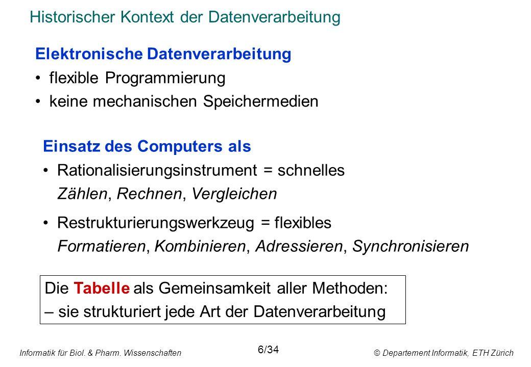 Informatik für Biol. & Pharm. Wissenschaften © Departement Informatik, ETH Zürich Historischer Kontext der Datenverarbeitung 6/34 Elektronische Datenv