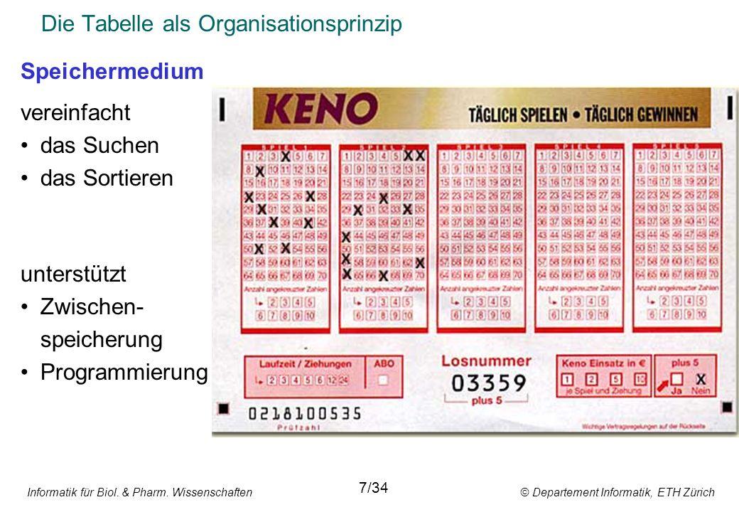 Informatik für Biol. & Pharm. Wissenschaften © Departement Informatik, ETH Zürich Die Tabelle als Organisationsprinzip 7/34 Speichermedium vereinfacht