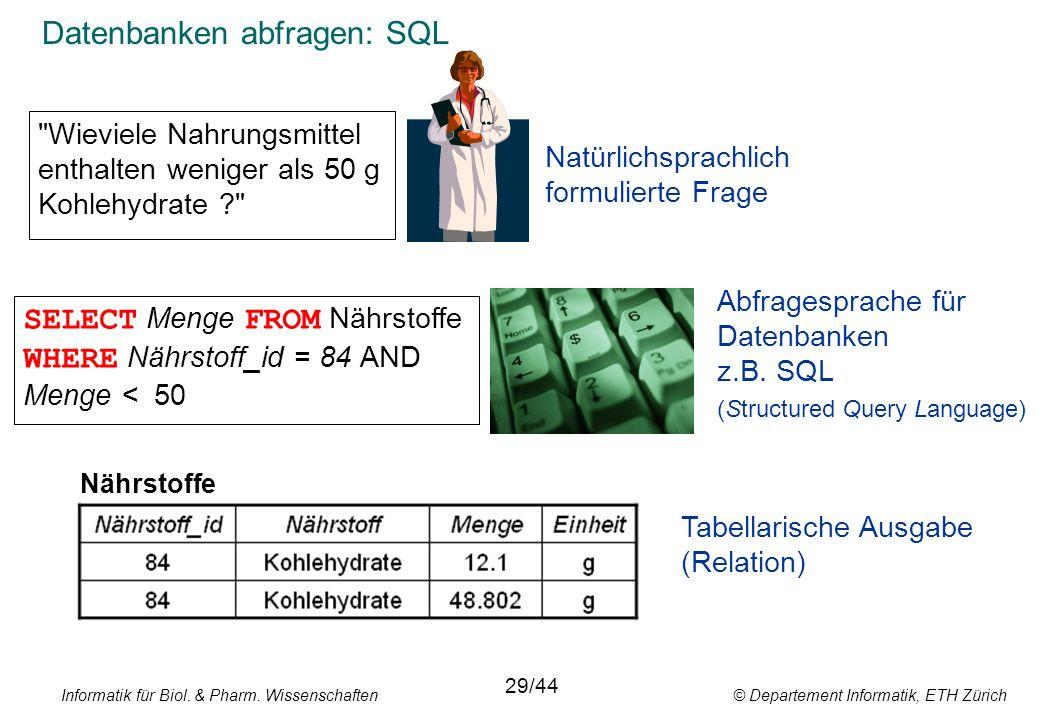 Informatik für Biol. & Pharm. Wissenschaften © Departement Informatik, ETH Zürich Datenbanken abfragen: SQL