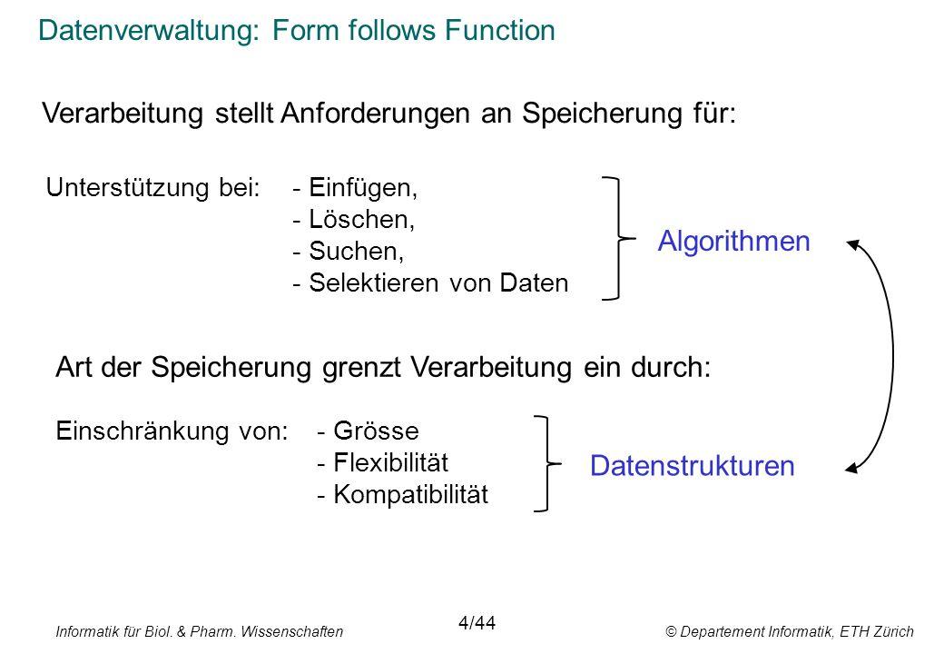 Informatik für Biol. & Pharm. Wissenschaften © Departement Informatik, ETH Zürich Datenverwaltung: Form follows Function 4/44 Unterstützung bei:- Einf