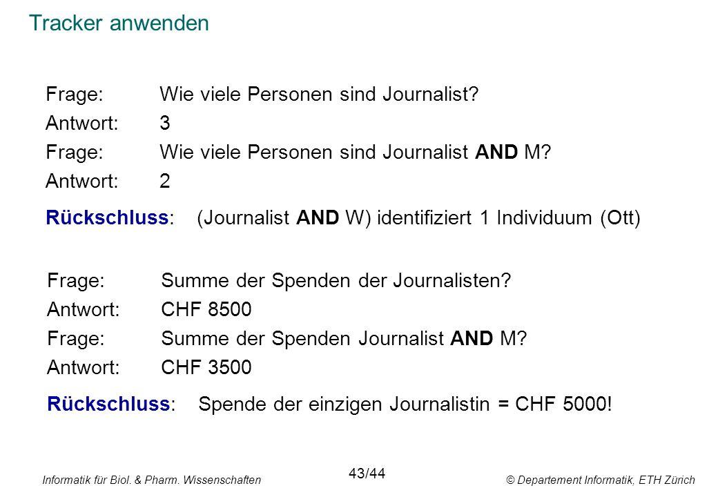 Informatik für Biol. & Pharm. Wissenschaften © Departement Informatik, ETH Zürich Tracker anwenden Frage:Wie viele Personen sind Journalist? Antwort:3