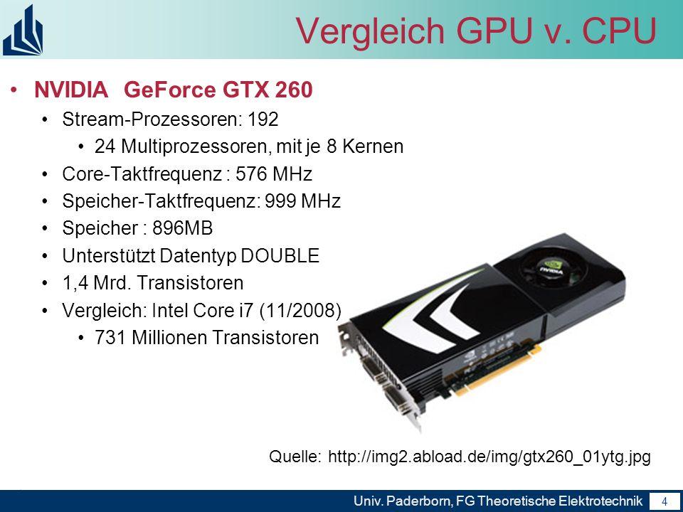 4 Univ. Paderborn, FG Theoretische Elektrotechnik 4 Vergleich GPU v. CPU NVIDIA GeForce GTX 260 Stream-Prozessoren: 192 24 Multiprozessoren, mit je 8